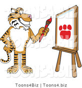 Vector Illustration of a Cartoon Tiger Mascot Painting a Canvas by Toons4Biz