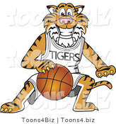 Vector Illustration of a Cartoon Tiger Mascot Playing Basketball by Toons4Biz