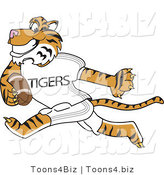 Vector Illustration of a Cartoon Tiger Mascot Playing Football by Toons4Biz