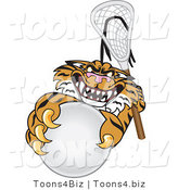 Vector Illustration of a Cartoon Tiger Mascot Playing Lacrosse by Toons4Biz