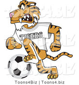 Vector Illustration of a Cartoon Tiger Mascot Playing Soccer by Toons4Biz