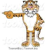 Vector Illustration of a Cartoon Tiger Mascot Pointing Left by Toons4Biz