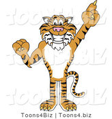 Vector Illustration of a Cartoon Tiger Mascot Pointing up by Toons4Biz