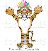 Vector Illustration of a Cartoon Tiger Mascot Punk with Colorful Hair by Toons4Biz