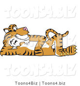 Vector Illustration of a Cartoon Tiger Mascot Reclined by Toons4Biz