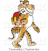 Vector Illustration of a Cartoon Tiger Mascot Walking to School by Toons4Biz