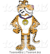 Vector Illustration of a Cartoon Tiger Mascot Wearing a Medal by Toons4Biz