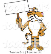 Vector Illustration of a Cartoon Tiger Mascot with a Blank Sign by Toons4Biz
