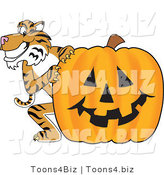 Vector Illustration of a Cartoon Tiger Mascot with a Halloween Pumpkin by Toons4Biz