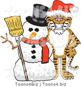 Vector Illustration of a Cartoon Tiger Mascot with a Snowman by Toons4Biz