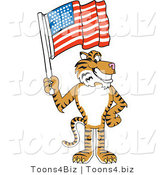 Vector Illustration of a Cartoon Tiger Mascot with an American Flag by Toons4Biz