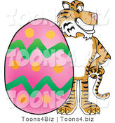 Vector Illustration of a Cartoon Tiger Mascot with an Easter Egg by Toons4Biz