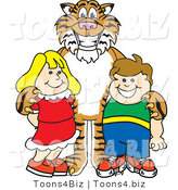 Vector Illustration of a Cartoon Tiger Mascot with Students by Toons4Biz