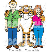 Vector Illustration of a Cartoon Tiger Mascot with Teachers or Parents by Toons4Biz