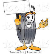 Vector Illustration of a Cartoon Tire Mascot Holding a Blank Sign by Toons4Biz