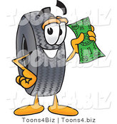 Vector Illustration of a Cartoon Tire Mascot Holding a Dollar Bill by Toons4Biz