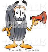 Vector Illustration of a Cartoon Tire Mascot Holding a Megaphone by Toons4Biz