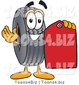 Vector Illustration of a Cartoon Tire Mascot Holding a Red Sales Price Tag by Toons4Biz