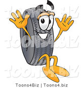 Vector Illustration of a Cartoon Tire Mascot Jumping by Toons4Biz