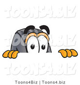 Vector Illustration of a Cartoon Tire Mascot Peeking over a Surface by Toons4Biz