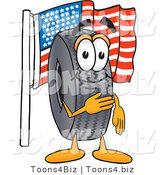 Vector Illustration of a Cartoon Tire Mascot Pledging Allegiance to an American Flag by Toons4Biz
