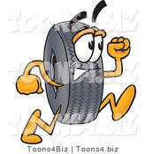 Vector Illustration of a Cartoon Tire Mascot Running by Toons4Biz