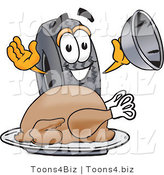 Vector Illustration of a Cartoon Tire Mascot Serving a Thanksgiving Turkey on a Platter by Toons4Biz