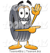 Vector Illustration of a Cartoon Tire Mascot Waving and Pointing by Toons4Biz