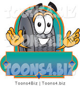 Vector Illustration of a Cartoon Tire Mascot with a Blank Label by Toons4Biz