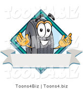 Vector Illustration of a Cartoon Tire Mascot with a Blank Ribbon Label by Toons4Biz