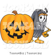 Vector Illustration of a Cartoon Tire Mascot with a Carved Halloween Pumpkin by Toons4Biz