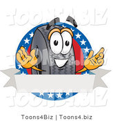 Vector Illustration of a Cartoon Tire Mascot with Stars and a Blank Label by Toons4Biz