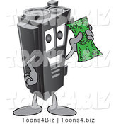 Vector Illustration of a Cartoon Toner Ink Cartridge Mascot Holding Cash by Toons4Biz
