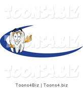 Vector Illustration of a Cartoon Tooth Mascot Behind a Dash on an Employee Nametag or Business Logo by Toons4Biz
