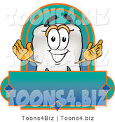Vector Illustration of a Cartoon Tooth Mascot on a Blank Label by Toons4Biz