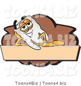 Vector Illustration of a Cartoon Tooth Mascot on a Blank Tan and Brown Label by Toons4Biz