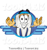 Vector Illustration of a Cartoon Tooth Mascot on a Blue Logo by Toons4Biz