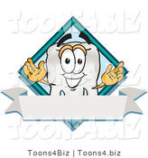 Vector Illustration of a Cartoon Tooth Mascot over a Blank White Banner on a Logo by Toons4Biz