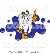 Vector Illustration of a Cartoon Tooth Mascot Pointing up and Standing in Front of a Blue Paint Splatter on a Business Logo by Toons4Biz