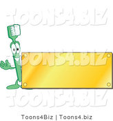Vector Illustration of a Cartoon Toothbrush Logo Mascot with a Blank Gold Plaque by Toons4Biz