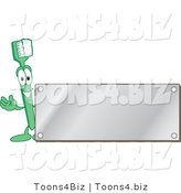 Vector Illustration of a Cartoon Toothbrush Logo Mascot with a Blank Silver Plaque by Toons4Biz