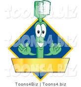 Vector Illustration of a Cartoon Toothbrush Logo Mascot with a Gold Banner on a Blue Diamond by Toons4Biz