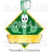 Vector Illustration of a Cartoon Toothbrush Logo Mascot with a Gold Banner on a Green Diamond by Toons4Biz