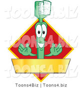 Vector Illustration of a Cartoon Toothbrush Logo Mascot with a Gold Banner on a Red Diamond by Toons4Biz