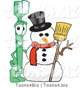 Vector Illustration of a Cartoon Toothbrush Mascot by a Snowman by Toons4Biz