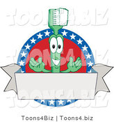 Vector Illustration of a Cartoon Toothbrush Mascot Logo with American Stars and a Blank Banner by Toons4Biz