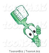 Vector Illustration of a Cartoon Toothbrush Mascot Looking Around a Blank Sign by Toons4Biz