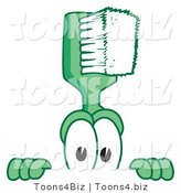 Vector Illustration of a Cartoon Toothbrush Mascot Looking over a Blank Sign by Toons4Biz