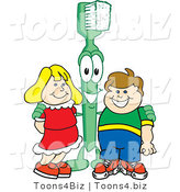 Vector Illustration of a Cartoon Toothbrush Mascot Standing with Kids by Toons4Biz