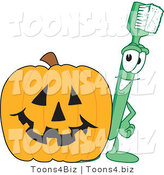 Vector Illustration of a Cartoon Toothbrush Mascot with a Halloween Pumpkin by Toons4Biz